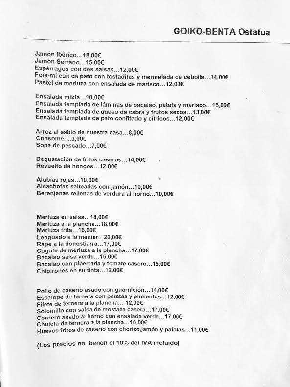 goiko venta oñate aranzazu pension resturante goiko benta
